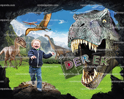 Personalize Kids Poster, Jurassic World Poster, Funny Dinosaur Running Party