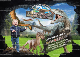 Dinosaur Invitation, Running Scared Birthday Invite, Jurassic Party