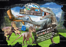 Dinosaur Invitation, T Rex Birthday Invite, Jurassic World Party