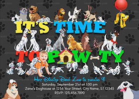 All Disney Dogs Invitation, Lady and Tramp Party, 101 Dalmatians Birthday Invite