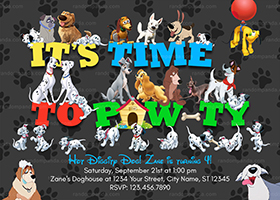 All Disney Dogs Invitation, 101 Dalmatians Party, Lady and The Tramp Birthday Invite