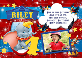 Personalize Dumbo Invitation, Circus Party, Elephant Big Top Invite