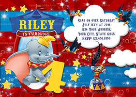 Dumbo Invitation, Circus Party, Elephant Big Top Invite