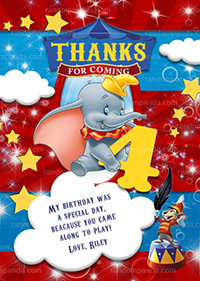 Dumbo Thank You Card, Circus Party, Elephant Big Top Thanks Note
