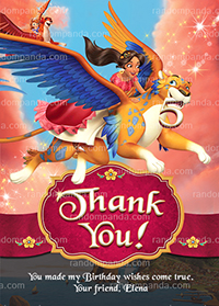 Elena of Avalor Thank You Card, Princess Elena Party Thanks Note