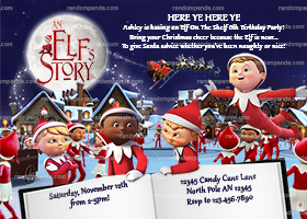 Elf on the Shelf Invitation, An Elf's Story Invite, Christmas Elves Party