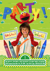 Elmo Invitation, Sesame Street Party, Elmo's World Invite