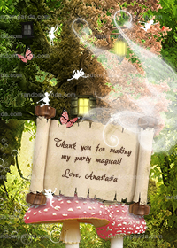 Pink Fairy Thank You Card, Fairy Party, Enchanted Forest Thanks Note
