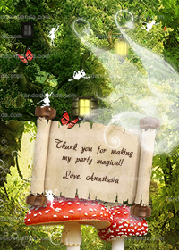 Red Fairy Thank You Card, Fairy Party, Enchanted Forest Thanks Note