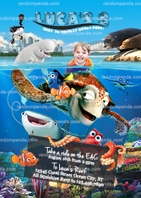 Personalize Finding Dory Invitation, Hank Party, Nemo Birthday Invite