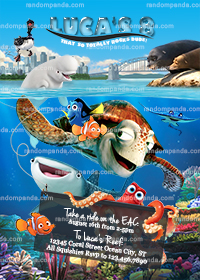 Finding Dory Invitation, Hank Party, Nemo Birthday Invite