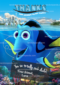 Finding Dory Thank You Card, Dory Party, Finding Nemo Thank You Note