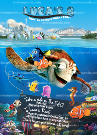 Finding Nemo Invitation, Dory Party, Turtle Birthday Invite