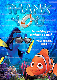 Finding Nemo Thank You Card, Dory Pool Party, Nemo Thanks Note