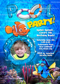 Finding Nemo Invitation, Nemo Pool Party, Dory Beach Party Invite