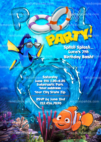 DIY Finding Nemo Invitation, Nemo Pool Party, Dory Beach Party Invite