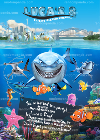 Finding Nemo Invitation, Dory Party, Shark Bruce Birthday Invite