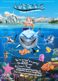 Personalize Finding Nemo Invitation, Shark Party, Dory Birthday Invite