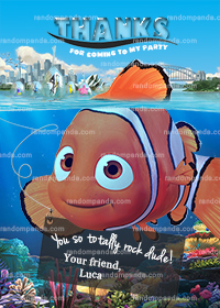 Finding Nemo Thank You Card, Sea Turtle Party, Finding Nemo Thank You Note