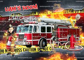 Personalize Kids Poster, Fire Truck Party Poster, Funny Fireman Wall Art
