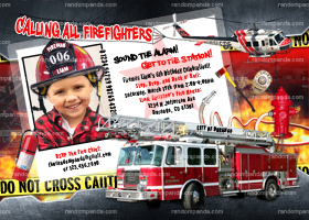 Firefighter Party, Fireman Invitation, Fire Truck Birthday - ADD Helmet
