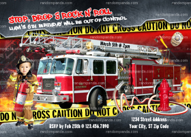 Personalize Firefighter Party, Firemen Invitation, Fire Truck Birthday, Fireman Invite
