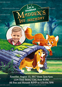 Personalize Fox and the Hound Invitation, Puppy Birthday Party Invite