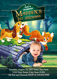 Personalize Fox and the Hound Invitation, Fox Birthday Party Invite