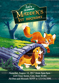 Fox and the Hound Invitation, Fox Birthday Party Invite