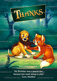Fox and the Hound Thank You Card, Fox Party Thanks Note