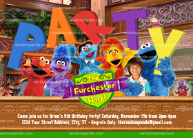 Sesame Street Invitation, Furchester Hotel Party, Elmo Party invite