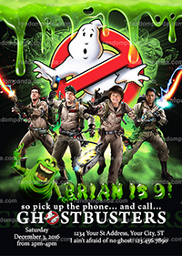 Personalize Ghostbusters Invitation, Boy Ghostbuster Party Invite