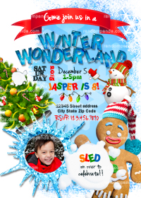Winter Wonderland invitation, Personalize Gingerbread Man Party, Snowman Invite