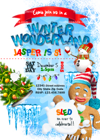 Winter Wonderland invitation, Gingerbread Man Xmas Party, Snowman Invite