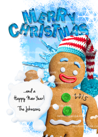 Gingerbread Man Christmas Card, Snowball Holiday Xmas Card