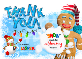 Winter Wonderland Thank you Card, Gingerbread Man Thank you Note, Christmas Party