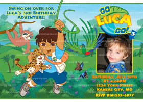 Personalize Go Diego Go Invitation, Go Diego Party, Diego Birthday Invite