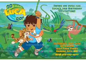Go Diego Go Invitation, Go Diego Party, Diego Birthday Invite