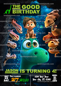 The Good Dinosaur Invitation, Jurassic Good Dinosaur Invite, Spot Birthday Party