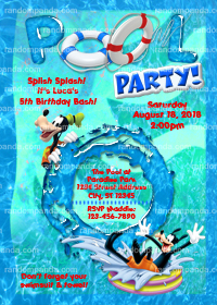 Goofy Birthday Invitation, Micky Mouse Swimming Pool Party Invite