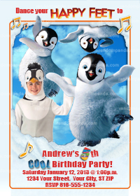 Personalize Happy Feet Invitation, Penguin Party, Happy Feet Invite