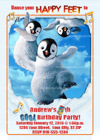 Happy Feet Invitation, Happy Feet Invite, Penguin Party