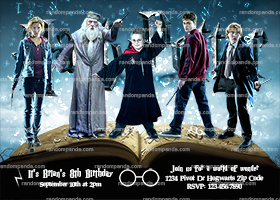Personalize Harry Potter Invitation, Hogwarts Costume Party, Magic Book Invite