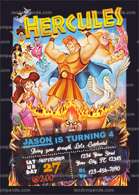 Hercules Invitation, Hades Party, Hercules Birthday Invite