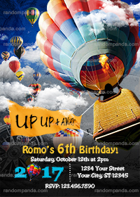 Hot Air Balloon Invitation, Balloon Party Invite, Hot Air Balloon Birthday