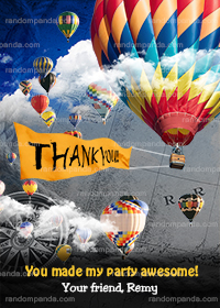 Hot Air Balloon Thank you Card, Balloon Party, Hot Air Balloon Birthday Thanks Note