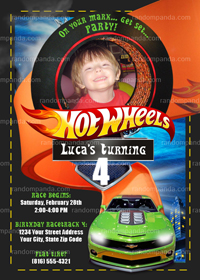 DIY Hotwheels Invitation, Hot Wheels Party, Hotwheels Invite