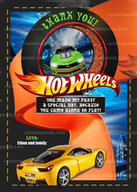 Hot wheels Thank You Card, Hot Wheels Party, Hotwheels Thanks Note