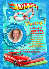 DIY Hotwheels Invitation, Hot Wheels Pool Party, Hotwheels Invite