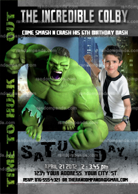 Incredible Hulk Invitation, Hulk Party, Incredible Hulk Birthday Invite